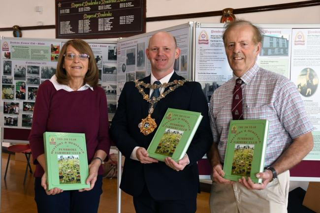Pictured at the launch of The 200 Year History & Heritage of Pembroke Farmers' Club at Pembroke Town Hall are: Councillor Linda Asman, Mayor Gareth Jones, and Edward Morris. PICTURE: Martin Cavaney.