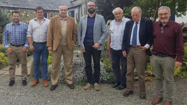 Hoping to lower the county's carbon footprint – Paul Jenkins, Paul Raymond, Colin Jenkins and David Pike; with Prof Andrew R Barron and Dr Enrico Andreoli from Swansea University, and Cris Tomos of Planed.