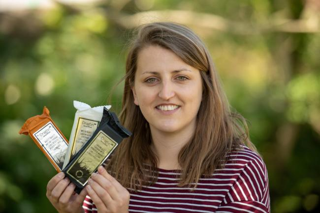 South Caernarfon Creameries sales and marketing co-ordinator Megi Williams with the new Dragon Handcrafted range of cheeses developed and launched in the last year.