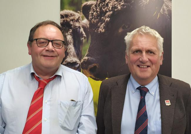 New FUW vice-president Dai Miles (left) with FUW president Glyn Roberts