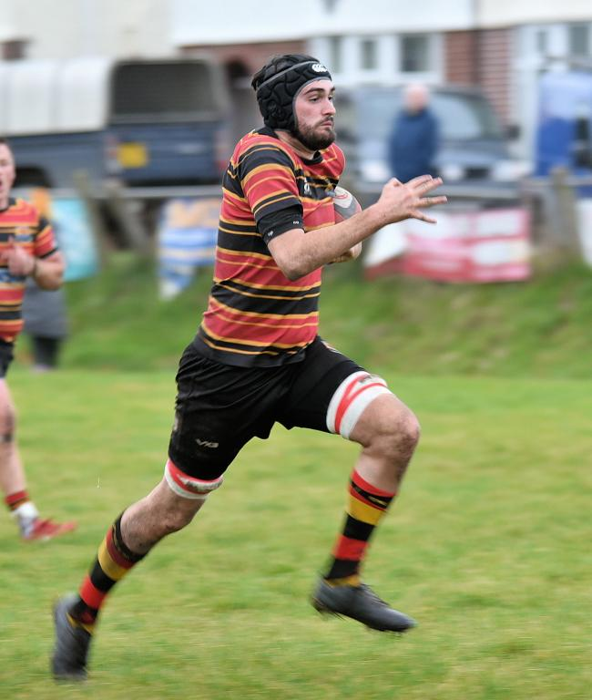 Cardigan's Osian Rees goes over for a try in their 20-5 win over Tregaron PICTURE: Julie John