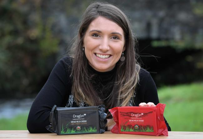 Ffion Davies, national account manager with South Caernarfon Creameries, with the Dragon brand Vintage Welsh Cheddar and Mature Welsh Cheddar