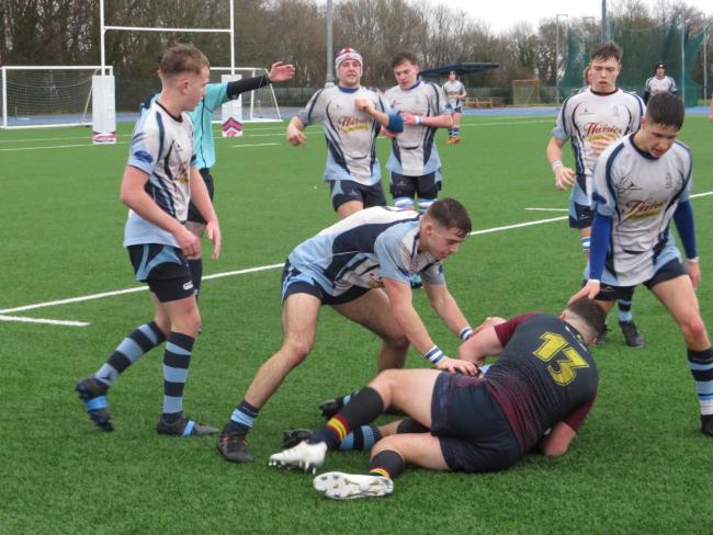 Action from Narberth v Cardiff Met yesterday. PICTURE: Western Telegraph.