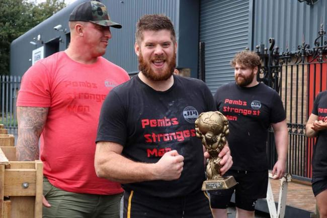 Adam James after winning the novice category in Pembrokeshire's Strongest Man in 2018.