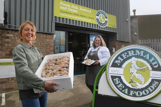 Tracey Hodson, (left) from Mon Dressed Crab with Sonya Jones, manager, Mermaid Seafoods, Llandudno