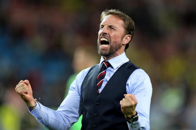 England manager Gareth Southgate celebrating winning the FIFA World Cup 2018, round of 16 match against Colombia at the Spartak Stadium, Moscow. PICTURE: PA.