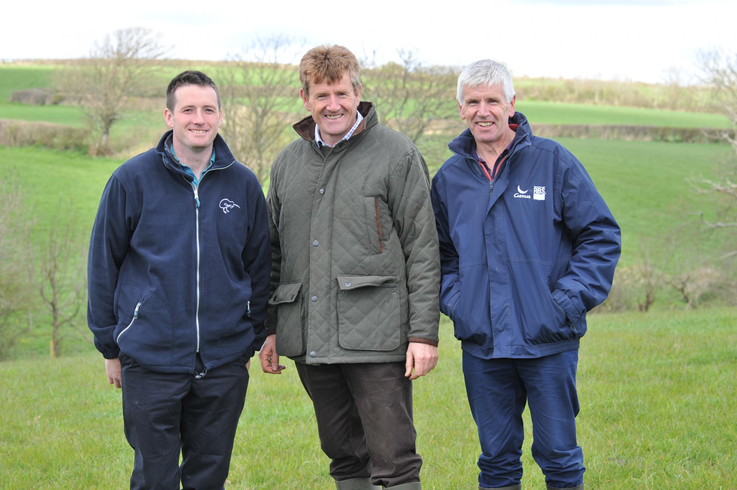 Nigel and Chris James, pictured with farm manager, Gethin Brown PICTURE: Debbie James