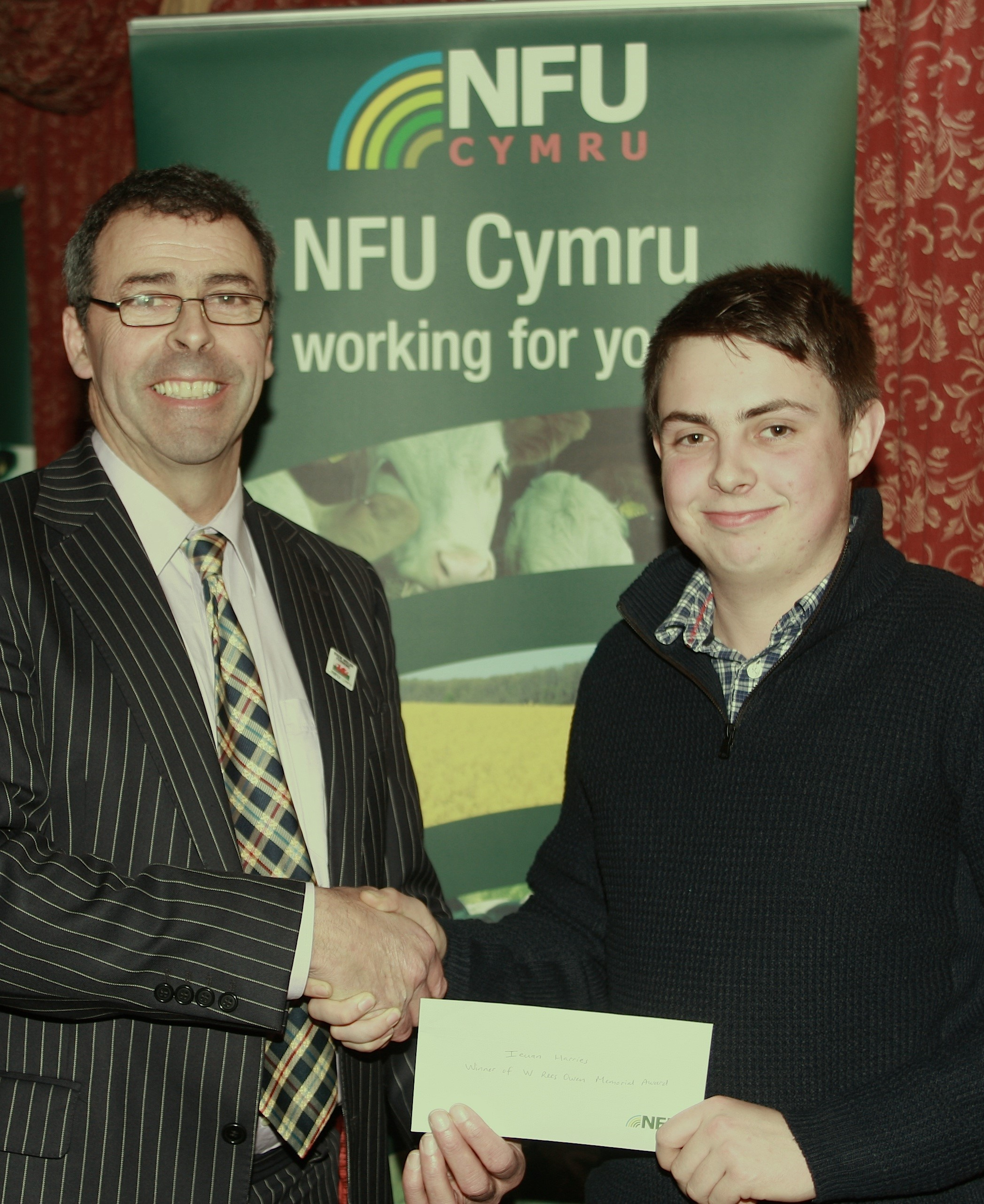 The W Rees Owen Memorial prize, presented each year by the county branch of the NFU to encourage agricultural students to achieve greater success, was awarded this year to Ieuan Harries, 21, of Cilauwen, Letterston. The elder son of Paul and Angharad Harr