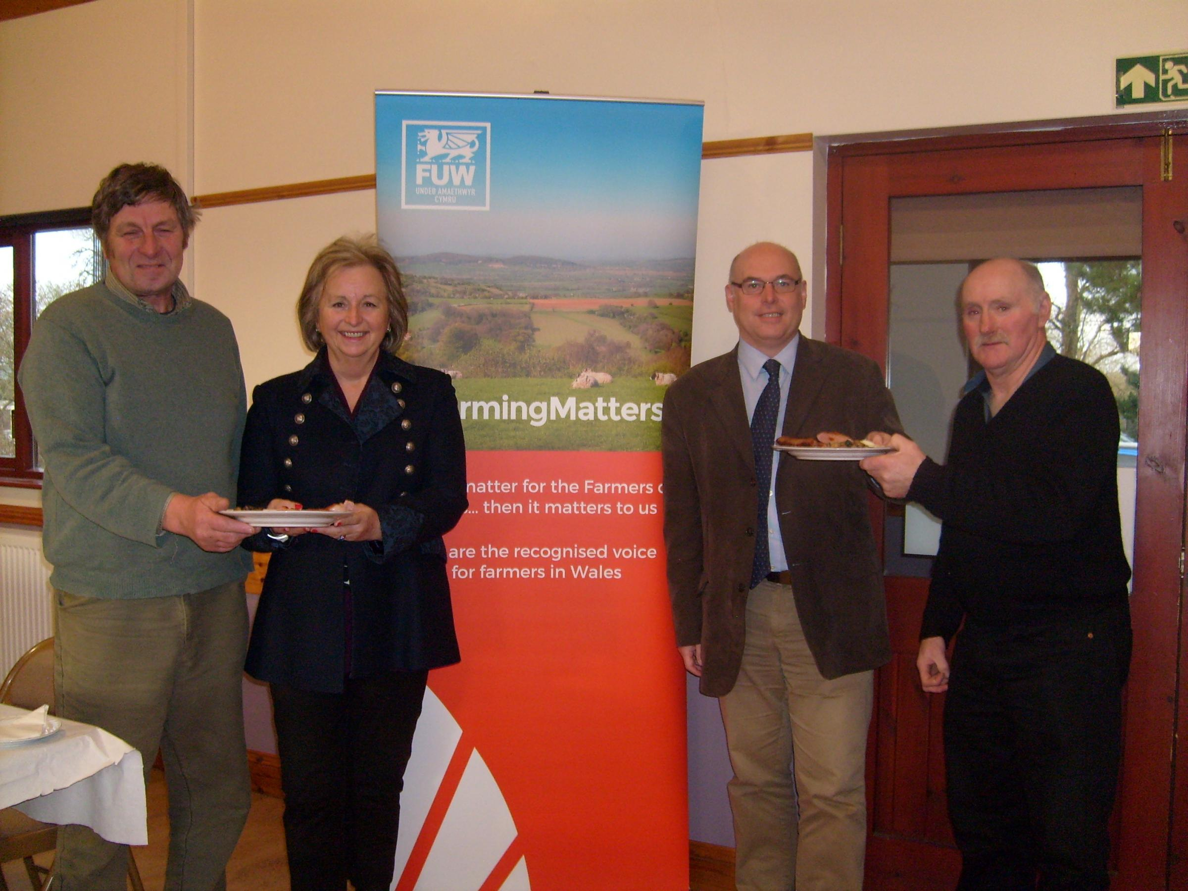 FUW Pembrokeshire county chairman David Nicholas, chairman of Pembrokeshire Coast National Park Authority Gwyneth Hayward, Paul Davies AM and FUW Pembrokeshire county president Hywel Vaughan at the Pembrokeshire breakfast.