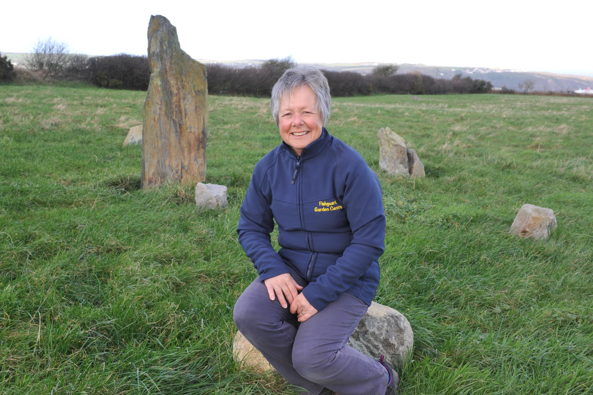 Gillian Chilton is pictured at a stone circle created at the campsite