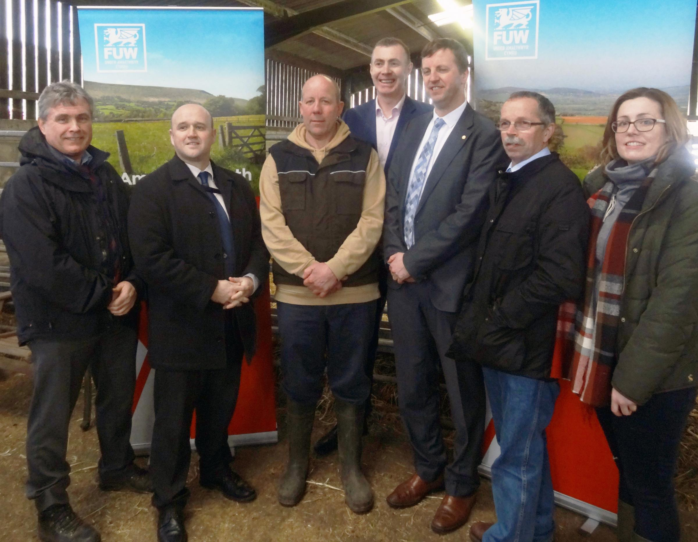 FUW Carmarthen CEO David Waters, Dafydd Llewelyn, Dyfed Powys Police and Crime Commissioner, FUW vice-president Ian Rickman, Adam Price AM, Jonathan Edwards MP, Councillor Gareth Thomas and FUW assistant CEO in Carmarthen Nerys Edwards.
