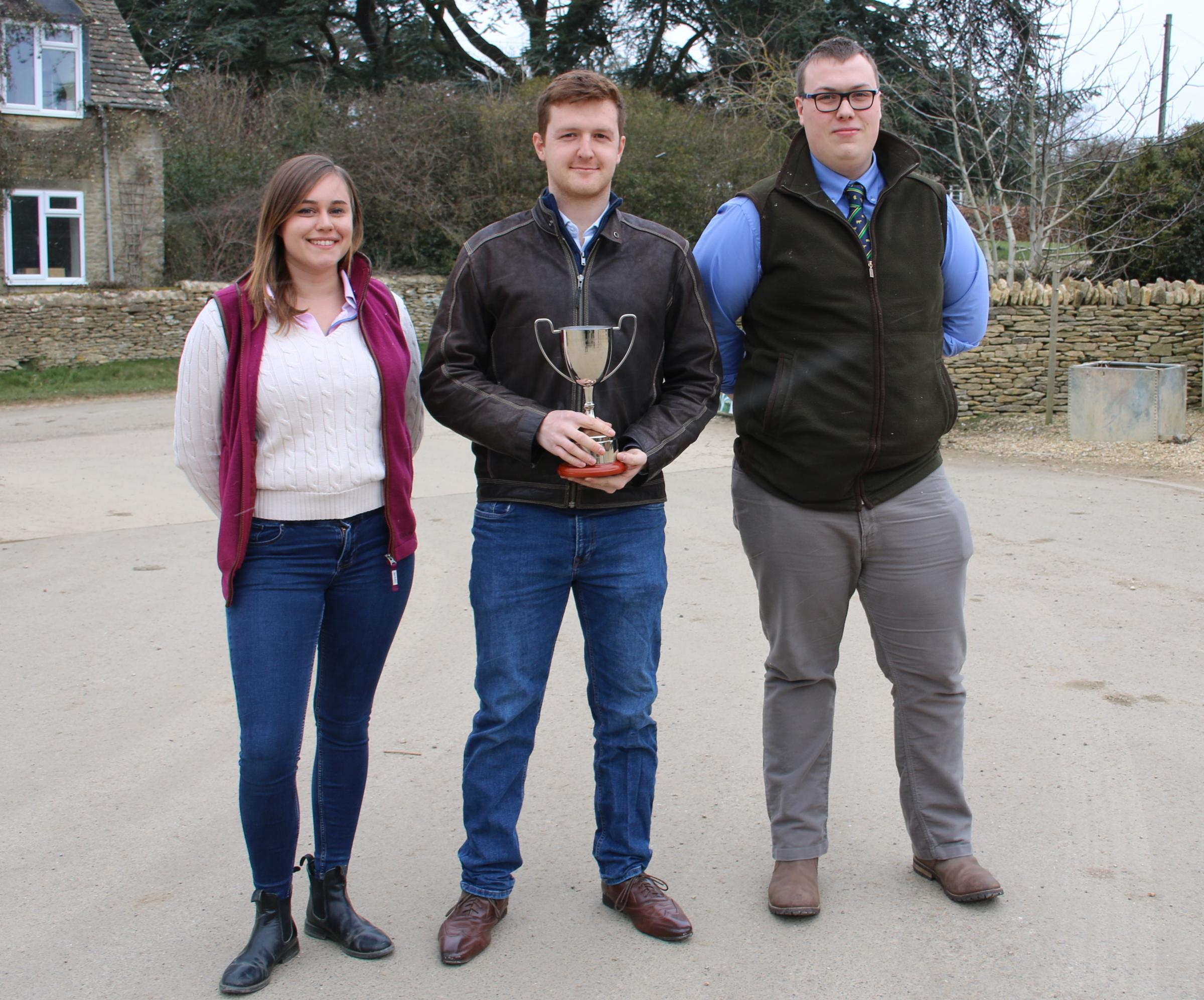 The NIAB 2017 Agronomy Cup winners Anna Crockford, David Casebow and James Bradley from Aberystwyth University's Institute of Biological, Environmental and Rural Sciences