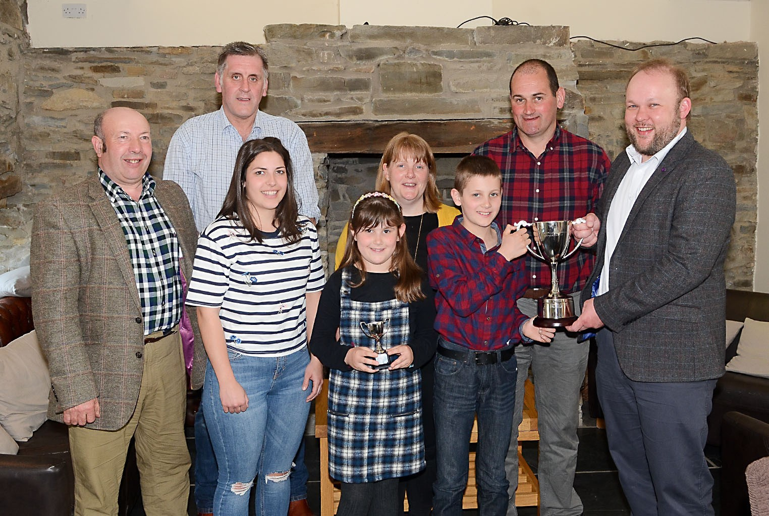 Ceredigion Sheep Exhibitor of the Year – Geraint and Kim Williams, Rhys and Nia of Tynllyn, Llanwnen PICTURE: Tim Jones