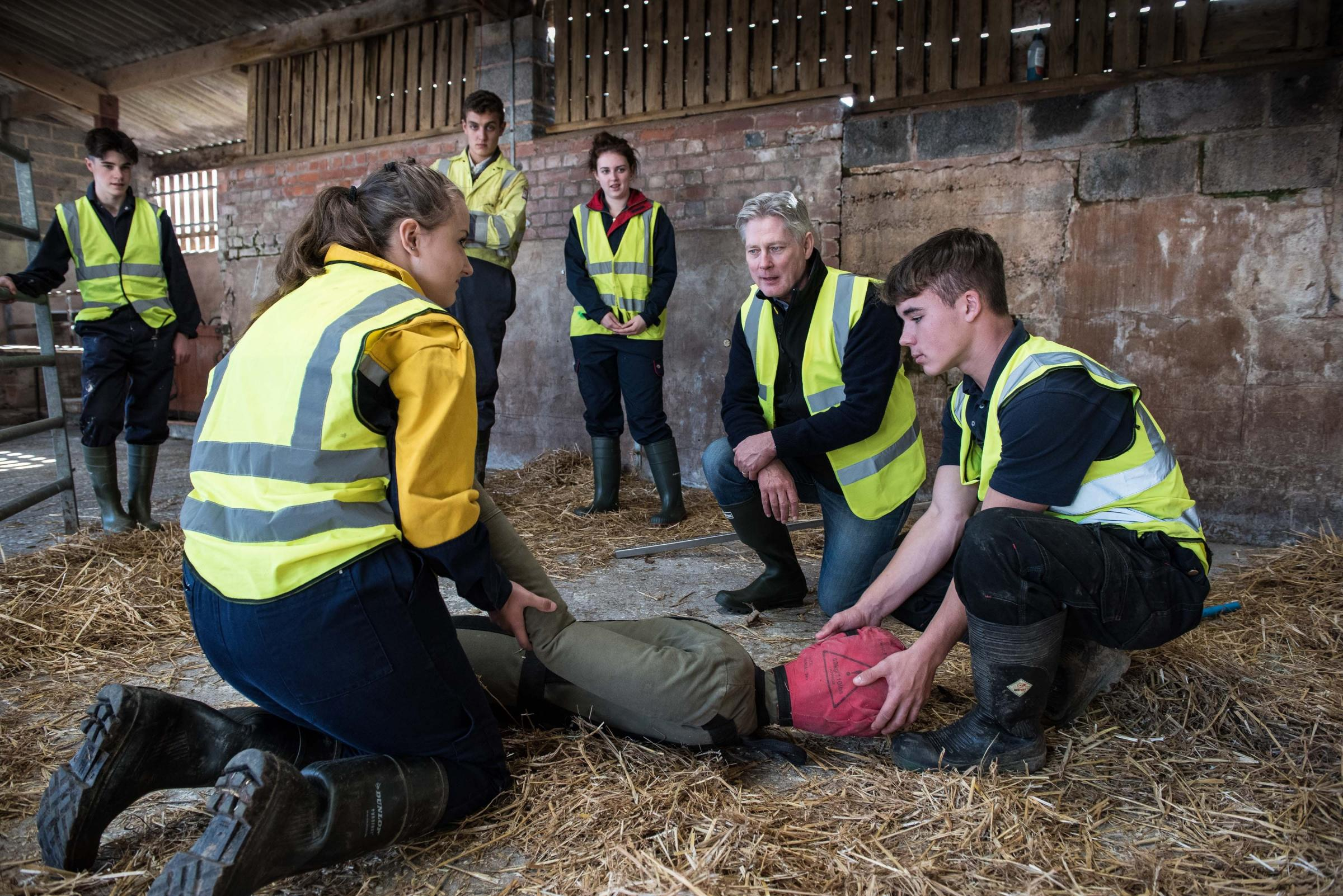 Young farmers take part in a safety exercise