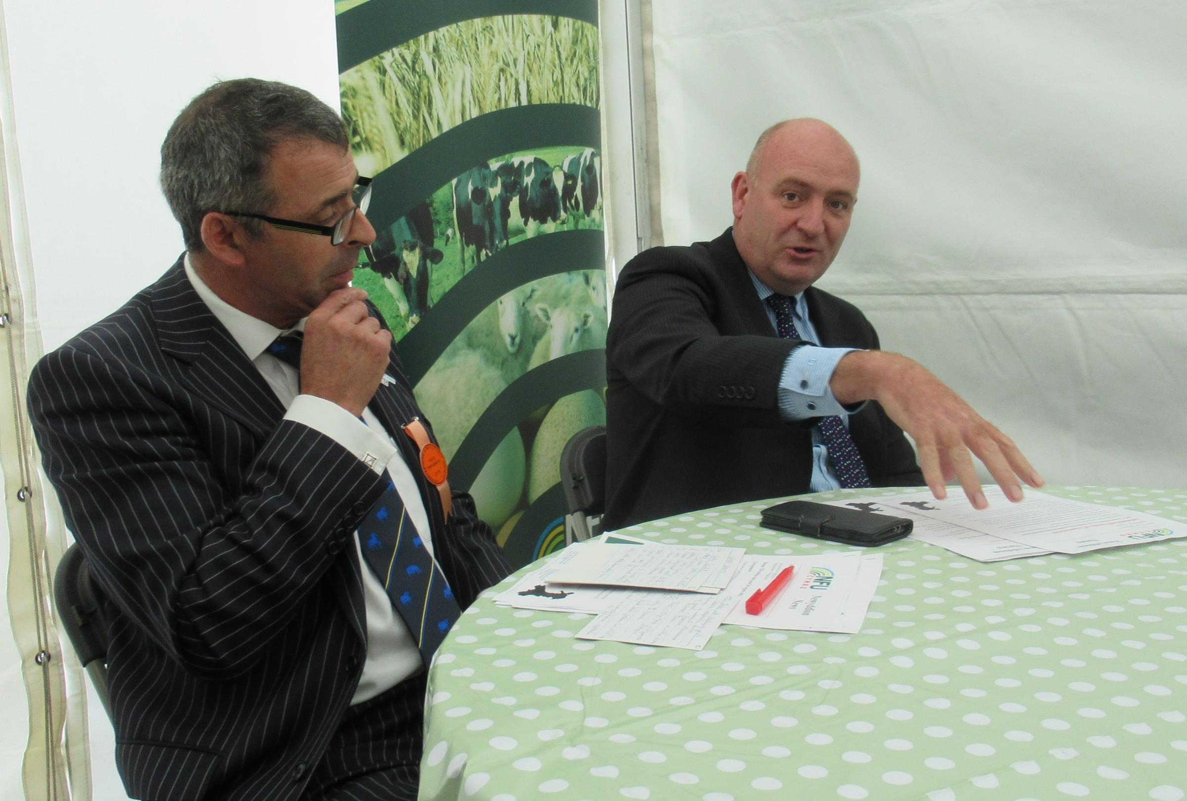 NFU Cymru president John Davies (right) and county chairman Jeff Evans put their cards on the table at the County Show PICTURE: Pembrokeshire Farmer