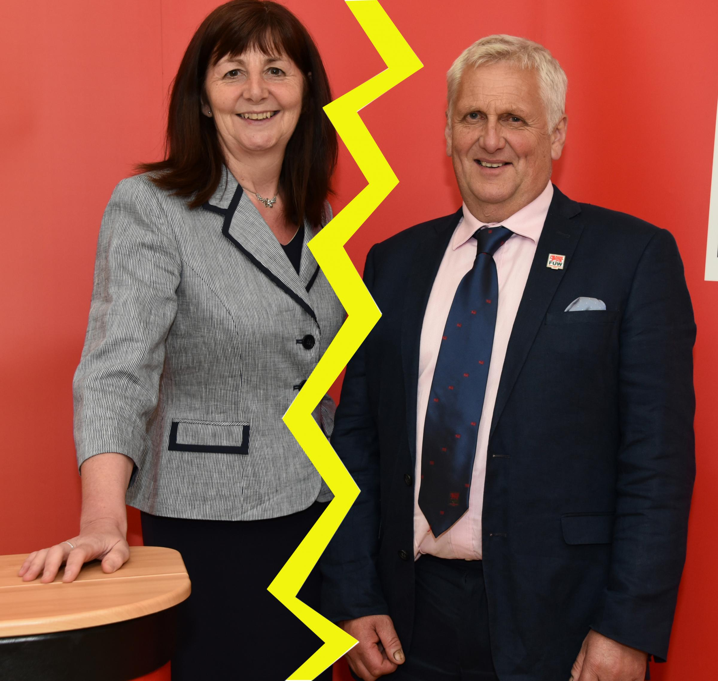 At loggerheads - cabinet secretary Lesley Griffiths and FUW president Glyn Roberts