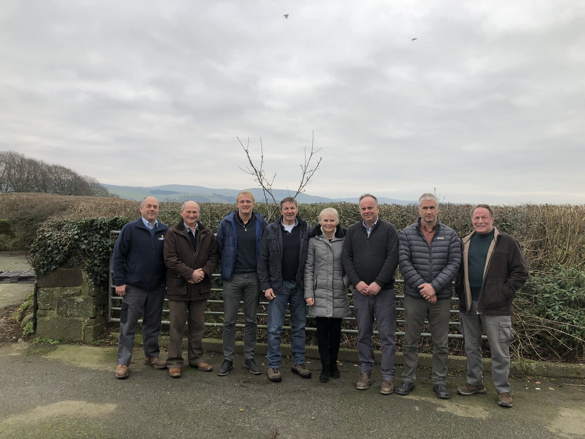 Ceredigion NFU Cymru county officeholders in a recent on-farm meeting with the local MP, Ben Lake