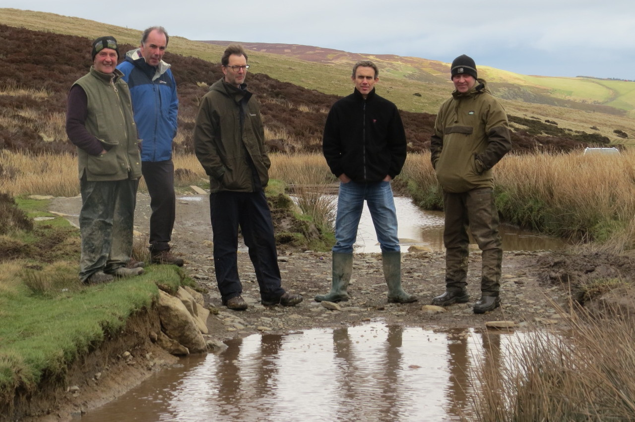 Farmers Glyn Jones, three officers of Wrexham CBC, Kevin Edwards, Martin Howarth, Sion Roberts and farmer Mike Crawshaw