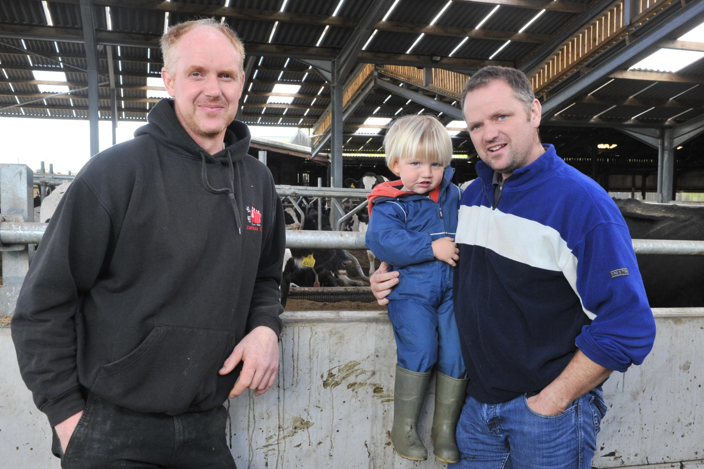 Mike Smith (right), pictured with his brother, Peter, and son, Henry, is seeking funding for a Blue Flag Farming scheme.